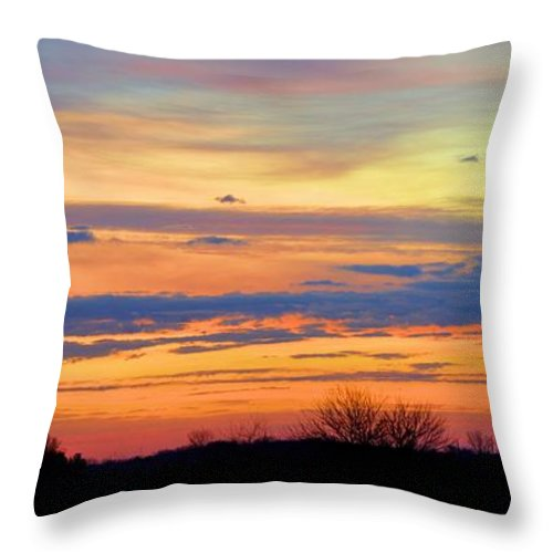 Agriculture Throw Pillow featuring the photograph November Panorama by Bonfire Photography