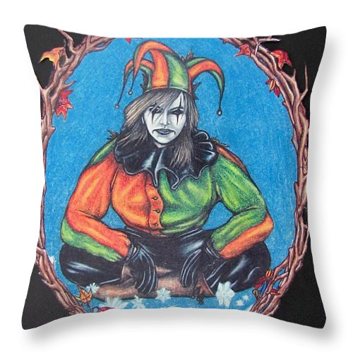 Michael Throw Pillow featuring the drawing November Snow by Michael TMAD Finney