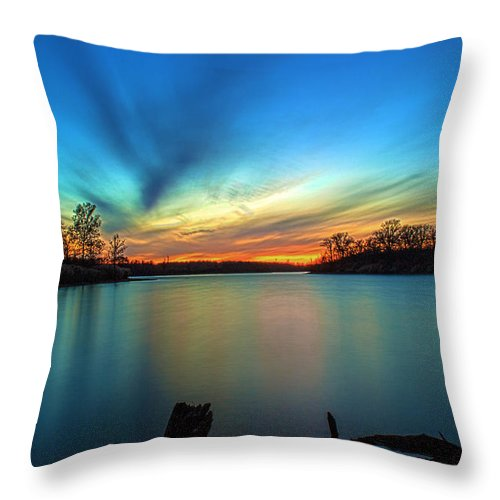 Hdr Throw Pillow featuring the photograph November Sunset by Thomas Sellberg