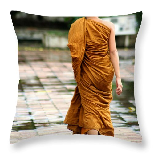 Monk Throw Pillow featuring the photograph Novice Monk Of Chedi Luang by Nola Lee Kelsey