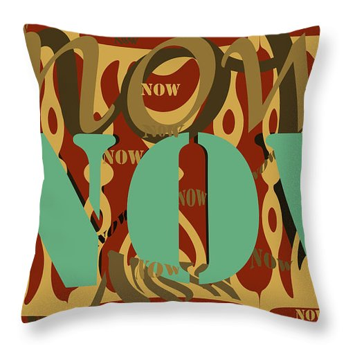 Green Throw Pillow featuring the digital art Now Brown by Laura Pierre-Louis