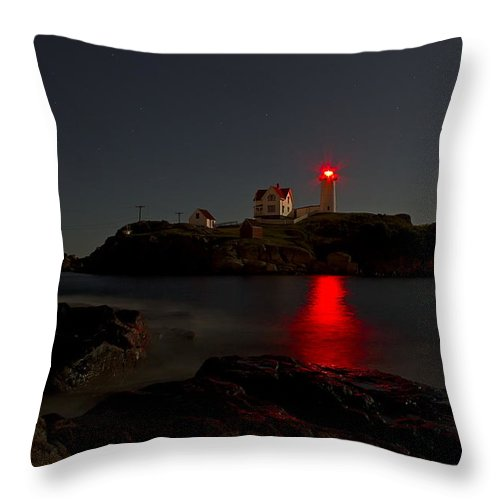 Lighthouse Throw Pillow featuring the photograph Nubble Lighthouse Lit By The Full Moon by John Vose