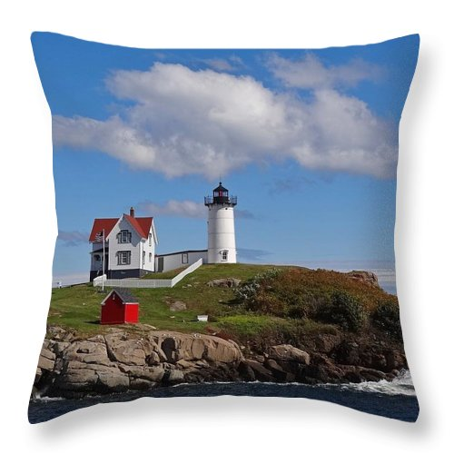 Tranquility Throw Pillow featuring the photograph Nubble Lighthouse by Photo Jacques Trempe