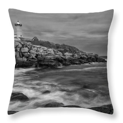 Nubble Lighthouse Throw Pillow featuring the photograph Nubble Storm by Scott Thorp