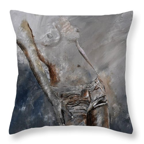 Nude Throw Pillow featuring the painting Nude 884120 by Pol Ledent
