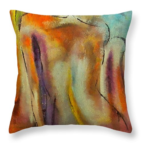 Mixed Media Throw Pillow featuring the mixed media Nude IIi by Dragica Micki Fortuna