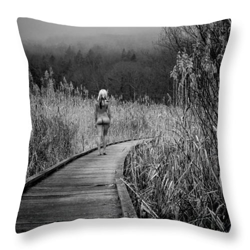Landscape Throw Pillow featuring the photograph Nude On Boardwalk 2 by S J C