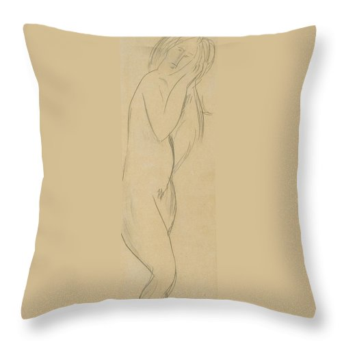 Nude Throw Pillow featuring the drawing Nude Woman by Amedeo Modigliani