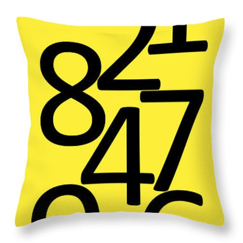 Numbers Throw Pillow featuring the digital art Numbers In Black And Yellow by Jackie Farnsworth
