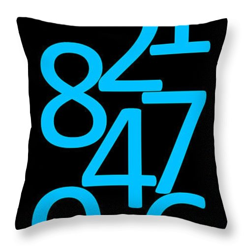Numbers Throw Pillow featuring the digital art Numbers In Blue And Black by Jackie Farnsworth