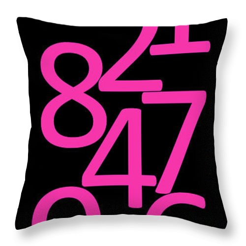 Numbers Throw Pillow featuring the digital art Numbers In Pink And Black by Jackie Farnsworth