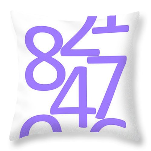 Numbers Throw Pillow featuring the digital art Numbers In Purple by Jackie Farnsworth