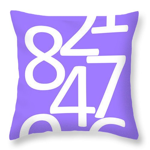 Numbers Throw Pillow featuring the digital art Numbers In White And Purple by Jackie Farnsworth