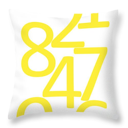 Numbers Throw Pillow featuring the digital art Numbers In Yellow by Jackie Farnsworth