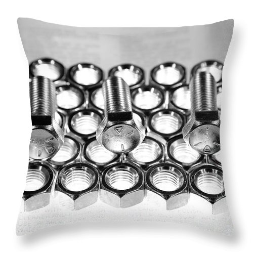 Nuts Throw Pillow featuring the photograph Nuts And Bolts by David Andersen