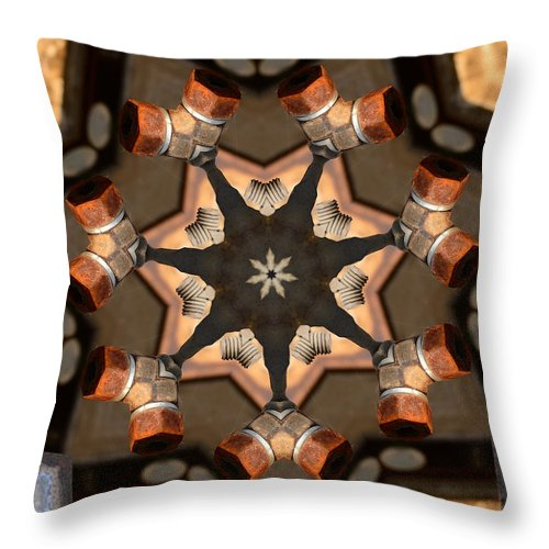 Kaleidoscope Throw Pillow featuring the photograph Nuts And Bolts by John Carocci