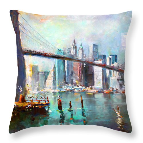 Nyc Throw Pillow featuring the painting NY City Brooklyn Bridge II by Ylli Haruni