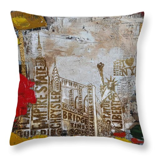 New York City Throw Pillow featuring the painting Ny City Collage 7 by Corporate Art Task Force