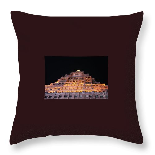 Clock Tower Throw Pillow featuring the photograph Ny Clock Tower by Steven Baier