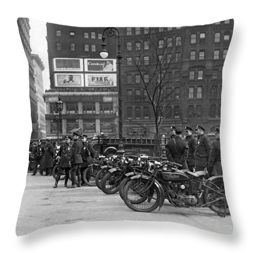1920's Throw Pillow featuring the photograph Ny Motorcycle Police by Underwood Archives