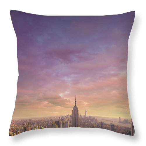Lower Manhattan Throw Pillow featuring the photograph Nyc At Sunset by Bluberries