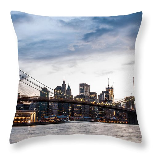 Nyc Throw Pillow featuring the photograph Nyc Brooklyn Bridge by Hannes Cmarits