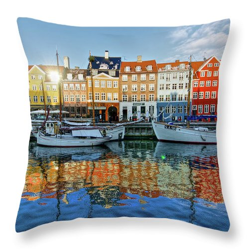 Copenhagen Throw Pillow featuring the photograph Nyhavn, Copenhagen, Denmark by Kateryna Negoda