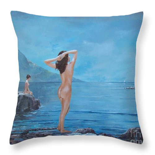 Female Figures Throw Pillow featuring the painting Nymphs by Sinisa Saratlic
