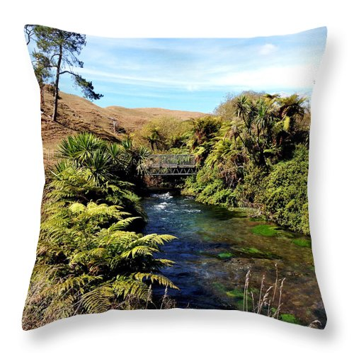 Adventure Throw Pillow featuring the photograph Nz Bridge by Les Cunliffe