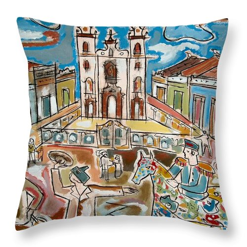 O Cavalo-marinho Church S�o Pedro P�tio Recife Brazil Square Performance Horse Colourful Theatre Street Clouds Sky Carnival Brazil Throw Pillow featuring the painting O Cavalo-marinho by Marcio Melo