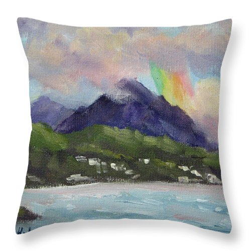 Hawaii Throw Pillow featuring the painting Oahu North Shore Rainbow by Karin Leonard