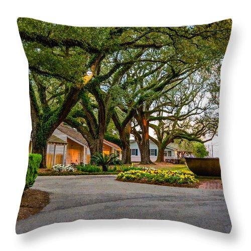 Oak Alley Plantation Throw Pillow featuring the photograph Oak Alley Slave Quarters by Steve Harrington