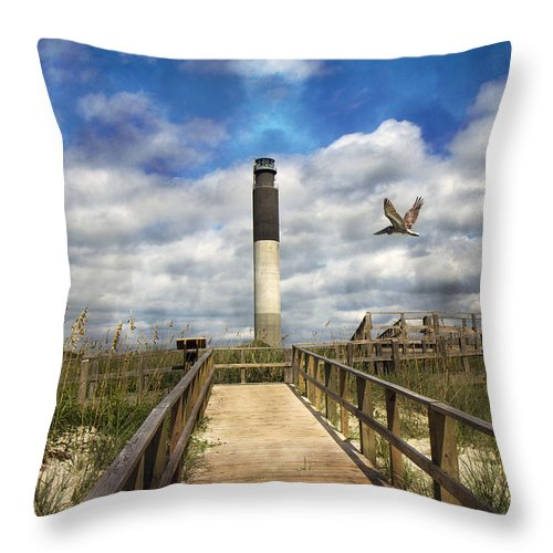Oak Throw Pillow featuring the photograph Oak Island Lighthouse by Betsy Knapp
