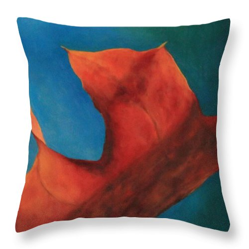 Original Oil Painting Throw Pillow featuring the photograph Oak Leaf Oil Painting by Michael Saunders