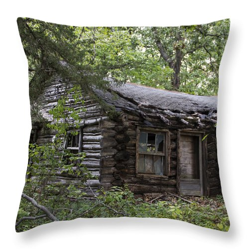 Card Throw Pillow featuring the photograph Oak Lodge by Guy Shultz