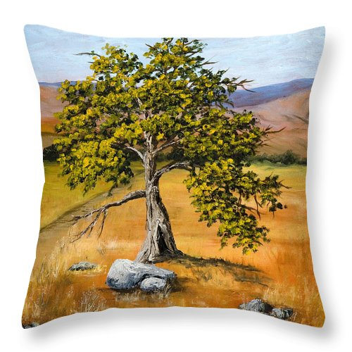 Landscape Throw Pillow featuring the painting Oak Tree by Darice Machel McGuire