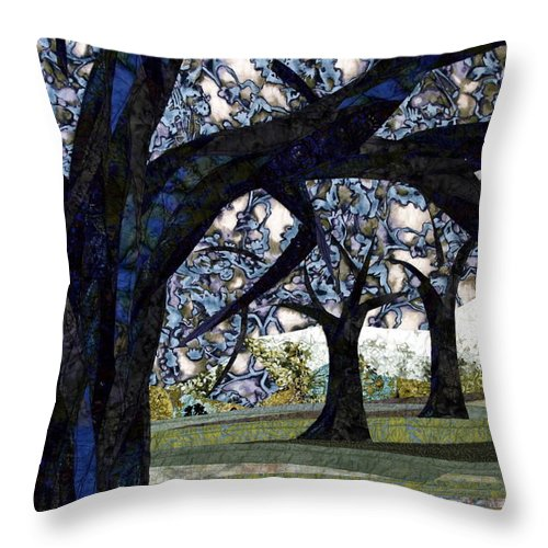 Trees Throw Pillow featuring the tapestry - textile Oak Veiling by Linda Beach