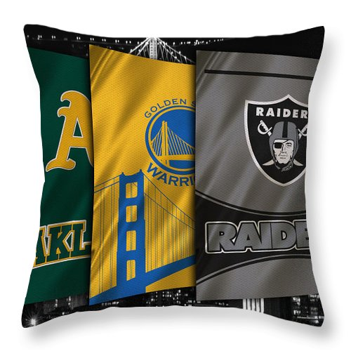 Raiders Throw Pillow featuring the photograph Oakland Sports Teams by Joe Hamilton
