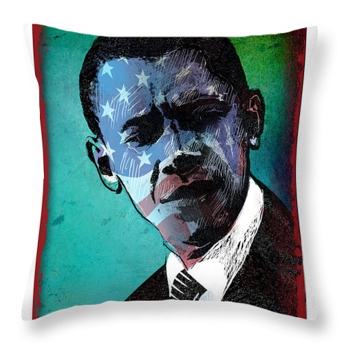 Obama Throw Pillow featuring the digital art Obama-4 by Chris Van Es