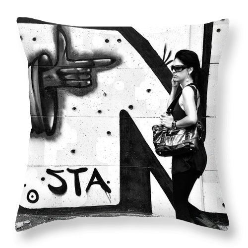 Black And White Throw Pillow featuring the photograph Oblivious by Valerie Rosen