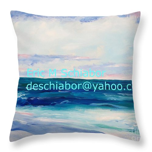 Floral Throw Pillow featuring the painting Ocean Assateague Virginia by Eric Schiabor