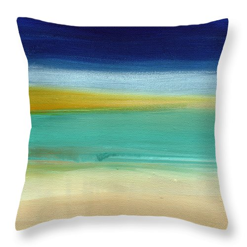 Abstract Throw Pillow featuring the painting Ocean Blue 3- Art by Linda Woods by Linda Woods