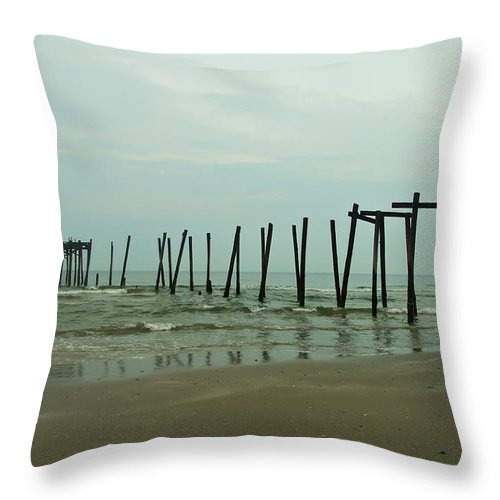 Ocean Throw Pillow featuring the photograph Ocean City's 59th Street Pier by Bill Cannon