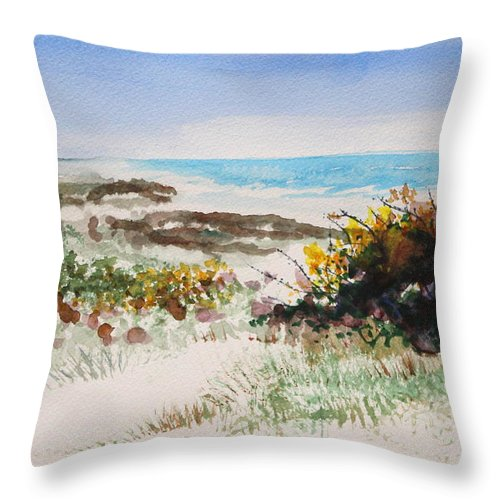 Ocean Throw Pillow featuring the painting Ocean Front by Shelli West