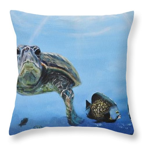 Turtle Throw Pillow featuring the painting Ocean Life by Donna Tuten