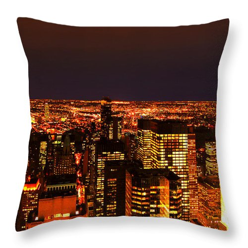 New York City Throw Pillow featuring the photograph Ocean Of Light New York City Usa by Sabine Jacobs