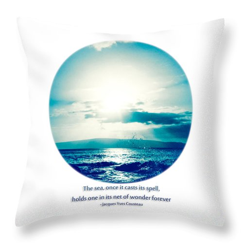 Ocean Throw Pillow featuring the photograph Ocean Pure Blue by Sharon Mau