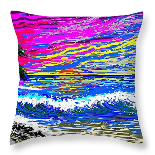 Ocean Sunset Quickly Sketched In One Hour. Throw Pillow featuring the digital art Ocean Sunset by Larry Lehman