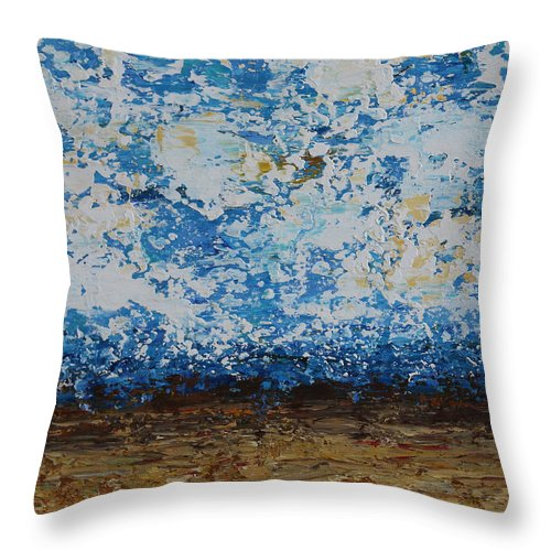 Abstract Throw Pillow featuring the painting Ocean View by Molly Roberts