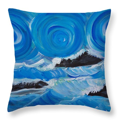Abstract Ocean Throw Pillow featuring the painting Ocean Waves by Deyanira Harris